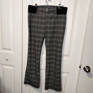 slip on black white grey plaid dress pants button